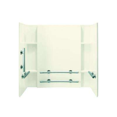 Accord 32 in. x 60 in. x 55-1/4 in. 3-Piece Direct-to-Stud Tub and Shower Wall Set in Biscuit