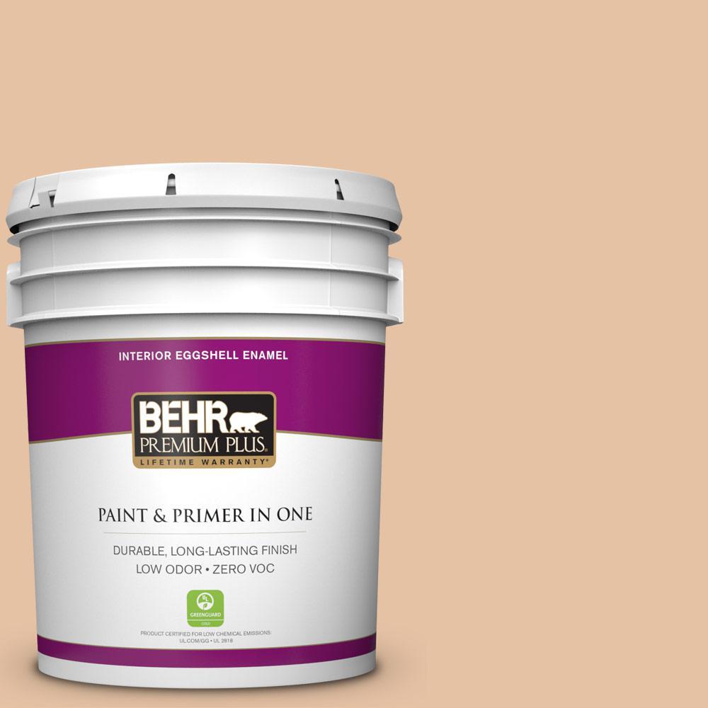 BEHR Premium Plus 5-gal. #260E-3 Pueblo Sand Zero VOC Eggshell Enamel Interior Paint