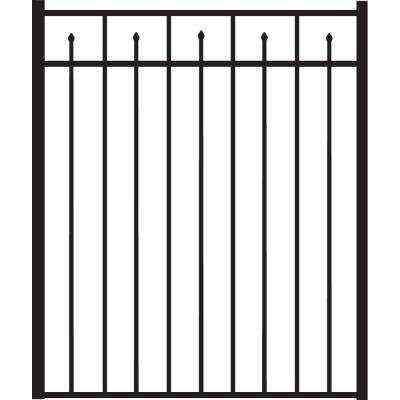 Brilliance Standard-Duty 4 ft. W x 4.5 ft. H Black Aluminum Straight Pre-Assembled Fence Gate