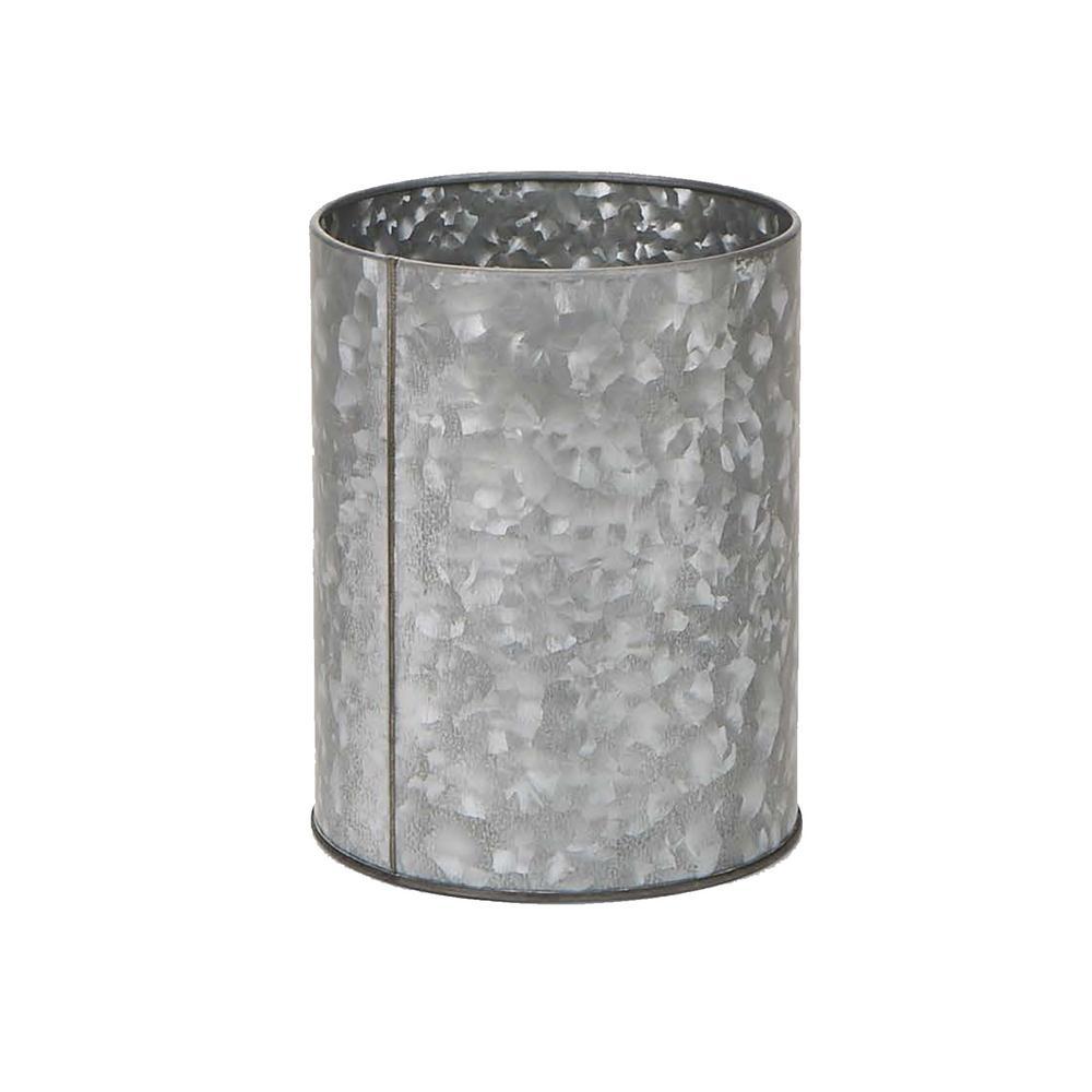 Silver Galvanized Utensil Holder Kitchen Condiment Organizer