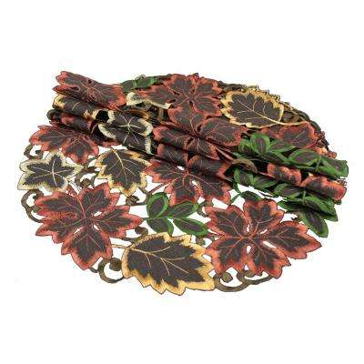 0.1 in. x 12 in. Round Dainty Leaf Embroidered Cutwork Fall Doilies (4-Set)