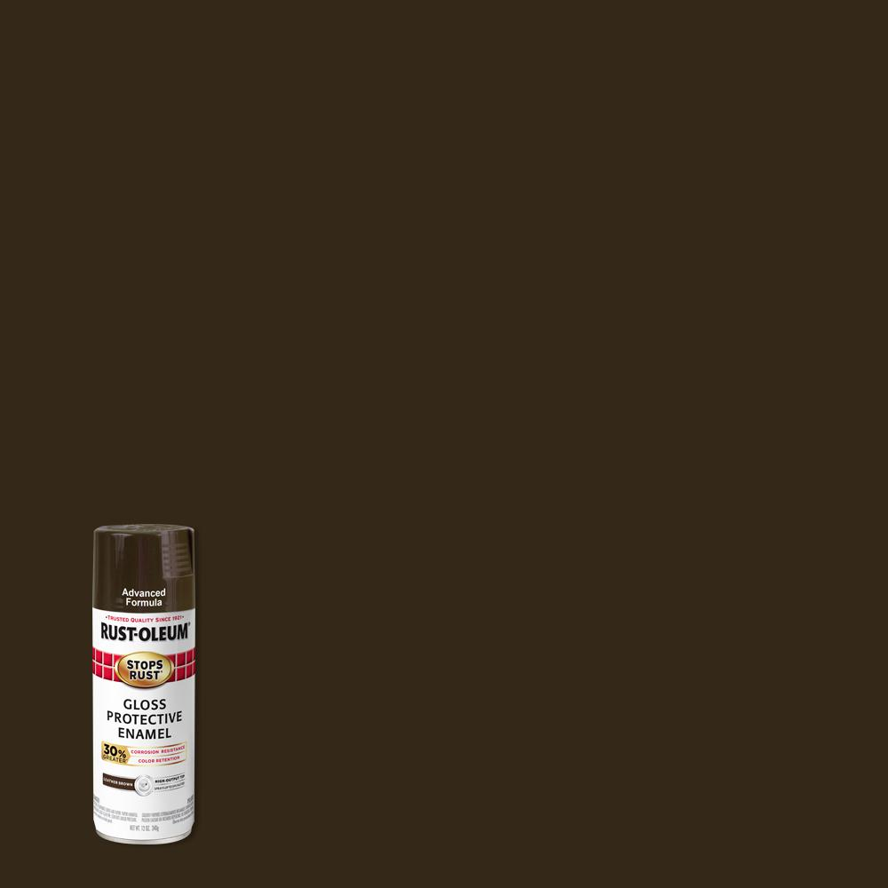 Rust-Oleum Stops Rust 12 oz. Advanced Protective Enamel Gloss Leather Brown Spray Paint (6 Pack)
