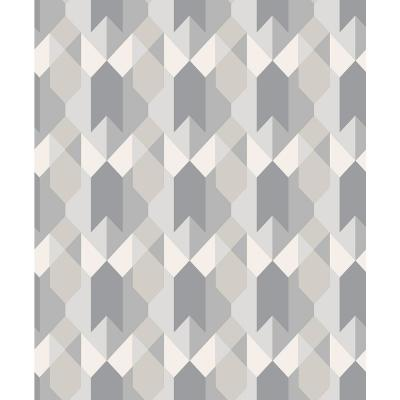 56.4 sq. ft. Copenhagen Grey Geometric Wallpaper