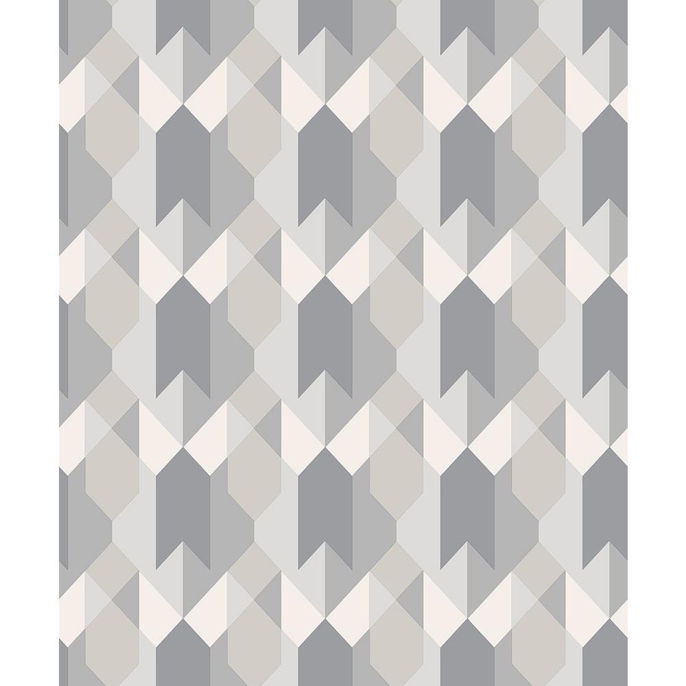 56.4 sq. ft. Copenhagen Grey Geometric Wallpaper