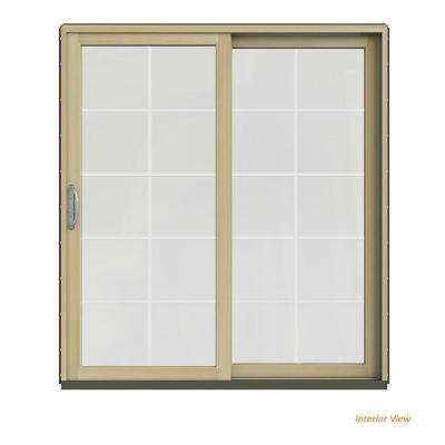 72 in. x 80 in. W-2500 Contemporary Brown Clad Wood Right-Hand 10 Lite Sliding Patio Door w/Unfinished Interior