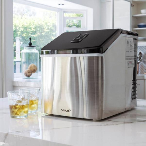 Newair Portable 40 Lb Of Ice A Day Countertop Clear Ice Maker Bpa Free Parts Perfect For Cocktails And Soda Stainless Steel Clearice40 The Home Depot