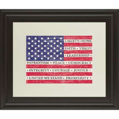 """34 in. x 40 in. """"Flag Of Inspiration"""" by Maria Mendez Framed Printed Wall Art"""