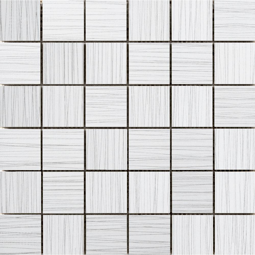 Emser Thread White 11.81 in. x 11.81 in. x 9mm Porcelain Mesh-Mounted Mosaic Tile