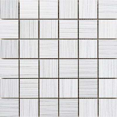 Thread White 11.81 in. x 11.81 in. x 9mm Porcelain Mesh-Mounted Mosaic Tile (0.97 sq. ft.)
