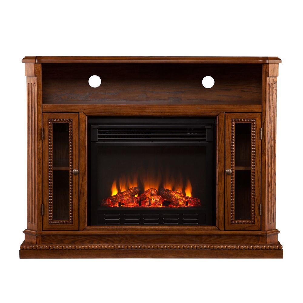 Southern Enterprises Roberta 47 in. Media Console Electric Fireplace in Rich Brown Oak