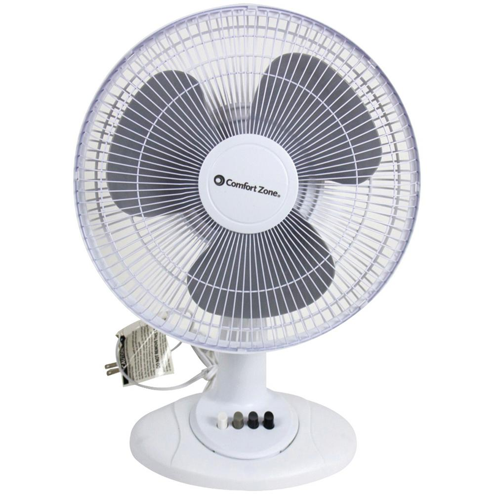 12 in. White Oscillating Table Fan