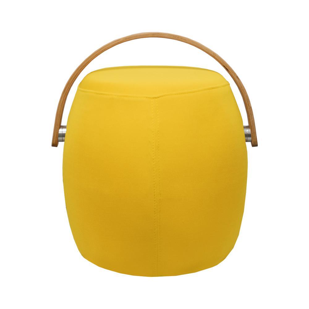 Bucket Yellow Fabric Ottoman Stool