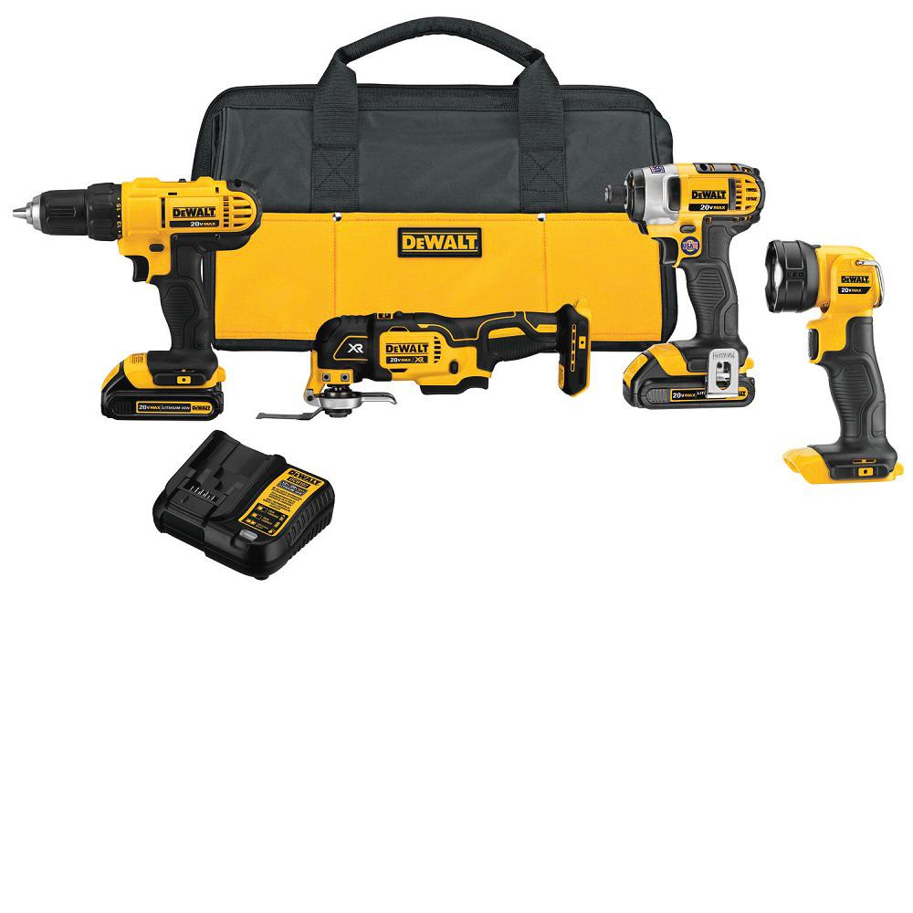 DEWALT 20-Volt MAX Lithium-Ion Cordless Combo Kit (4-Tool), (2) 1.5Ah Batteries, Charger, Bag