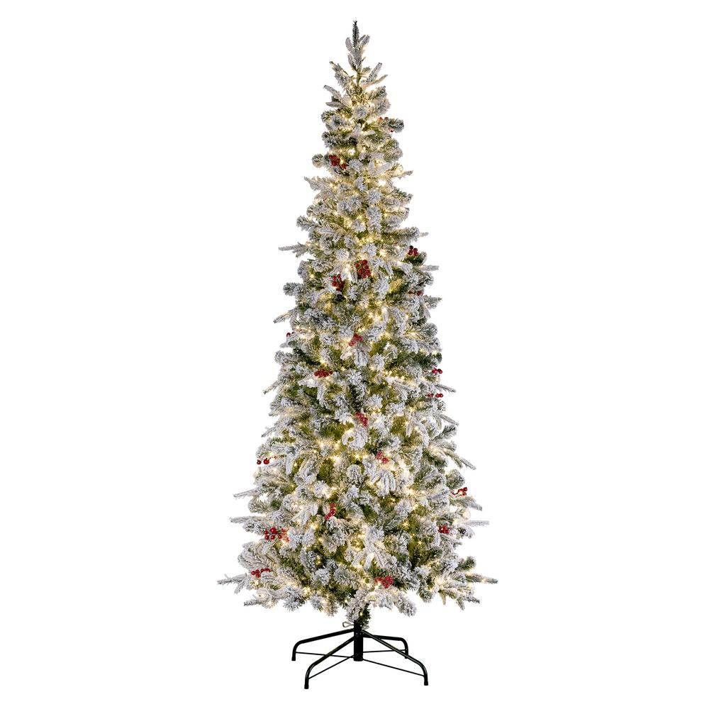 Haute Decor 7 Ft. Pre-Lit LED Flocked Lexington Slim Fir