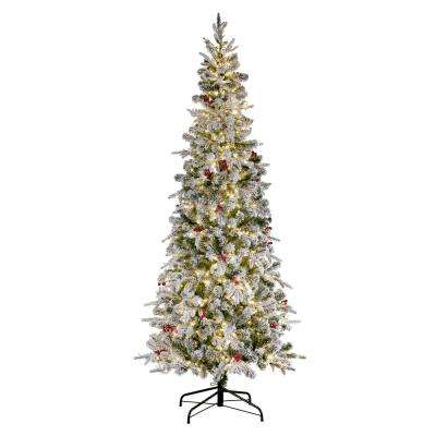 7 ft. Pre-Lit LED Flocked Lexington Slim Fir Christmas Tree with 1400 Warm White Lights