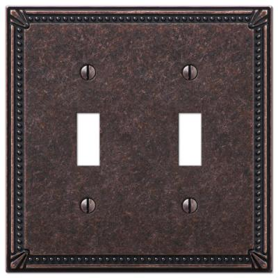 Imperial Bead 2 Gang Toggle Metal Wall Plate - Tumbled Aged Bronze