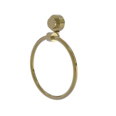 Venus Collection Towel Ring with Groovy Accent in Unlacquered Brass