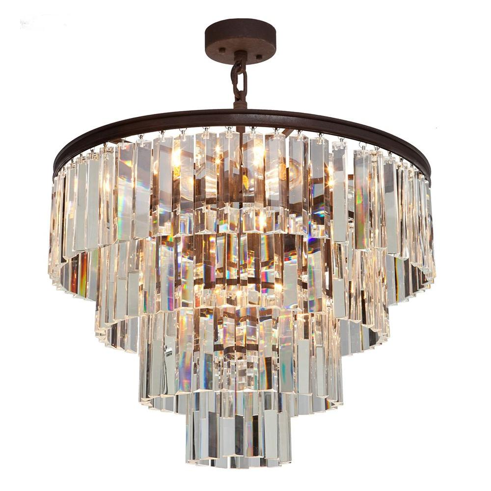 ARTCRAFT El Dorado 9-Light Java Brown Chandelier Classic and timeless the El Dorado collection of crystal chandeliers is rich inside and out. Available in Java Brown or Chrome plated finishes. 9 light chandelier