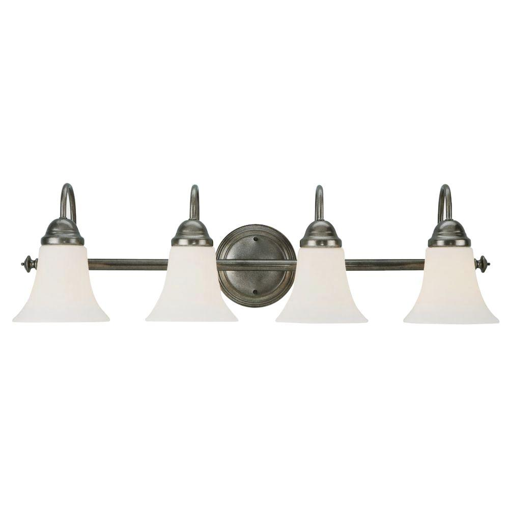 Design House Cabriolet 4-Light Rustic Pewter Vanity Light Fixture-DISCONTINUED