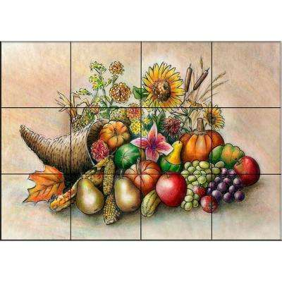 Cornucopia 17 in. x 12-3/4 in. Ceramic Mural Wall Tile