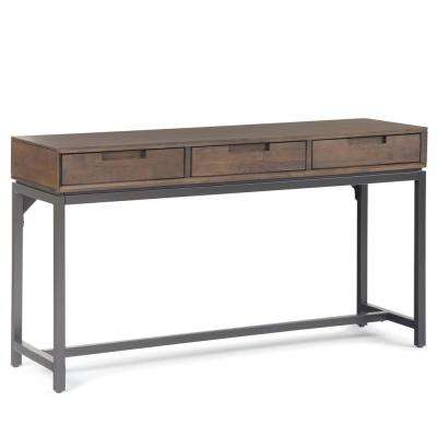 Banting Solid Hardwood and Metal 54 in. Wide Modern Industrial Wide Console Table in Walnut Brown