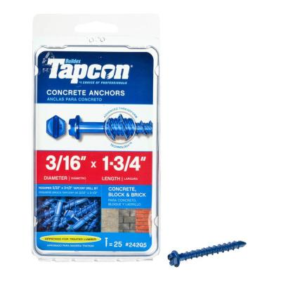 3/16 in. x 1-3/4 in. Hex-Washer-Head Concrete Anchors (25-Pack)