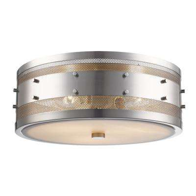 Column 3-Light Brushed Nickel Flush Mount