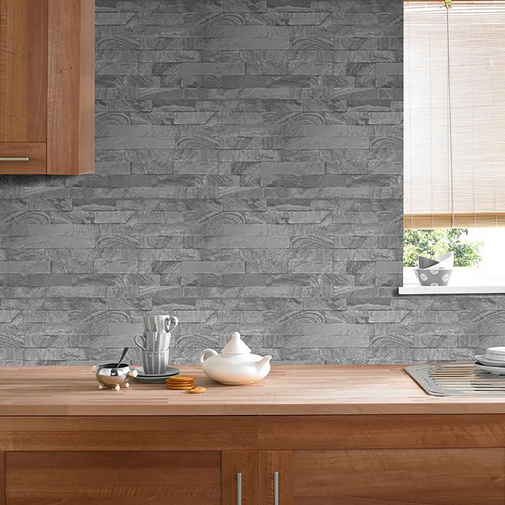 Gray New Brick Removable Wallpaper