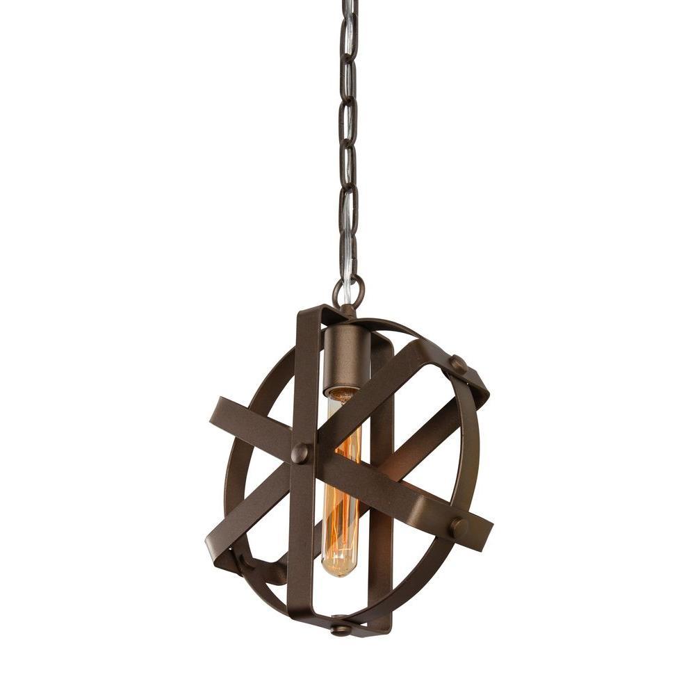 Reel 1-Light Rustic Bronze Mini Pendant