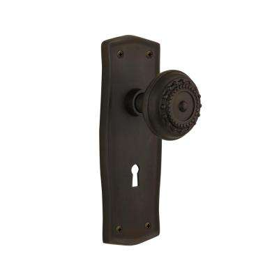 Prairie Plate with Keyhole 2-3/8 in. Backset Oil-Rubbed Bronze Privacy Bed/Bath Meadows Door Knob