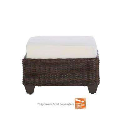 Mill Valley Fully Woven Patio Ottoman With Cushion Insert (Slipcovers Sold  Separately)