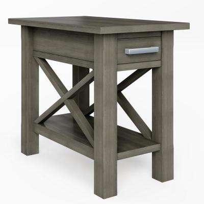 Providence Solid Wood 14 inch Wide Rectangle Contemporary Narrow Side Table in Farmhouse Grey