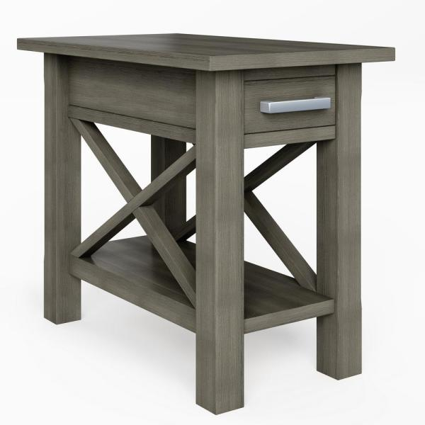 Simpli Home Kitchener Solid Wood 14 In Wide Rectangle Contemporary Narrow Side Table In Farmhouse Grey Axcrgl009 Fg The Home Depot