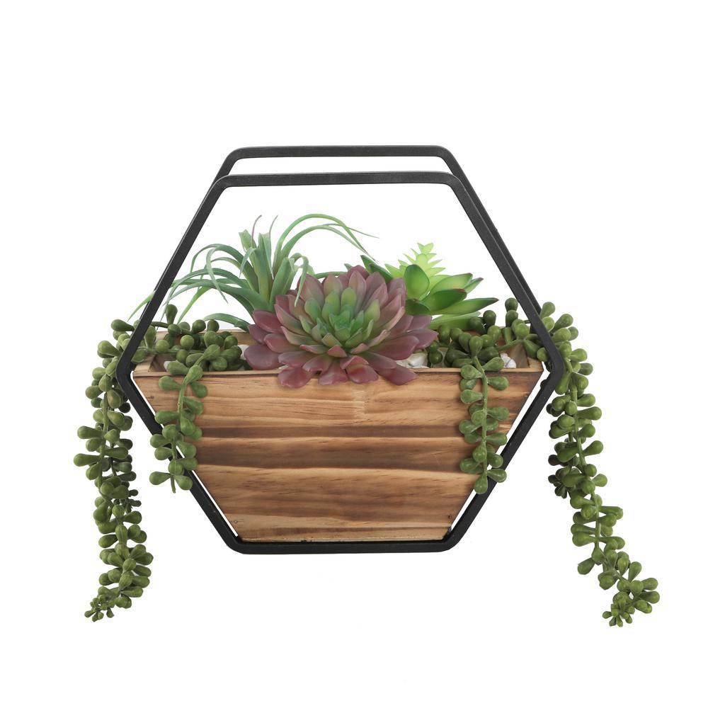 Flora Bunda 11 in. Hexagon Wood and Metal Wall Faux Succulents Mix Deals