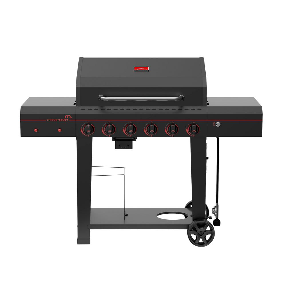 Megamaster 6-Burner Propane Gas Grill in Black