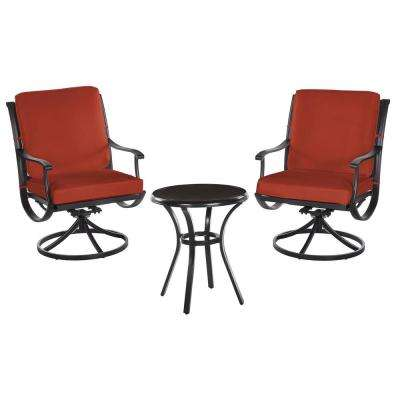 Redwood Valley Black 3-Piece Steel Outdoor Patio Bistro Set with CushionGuard Quarry Red Cushions