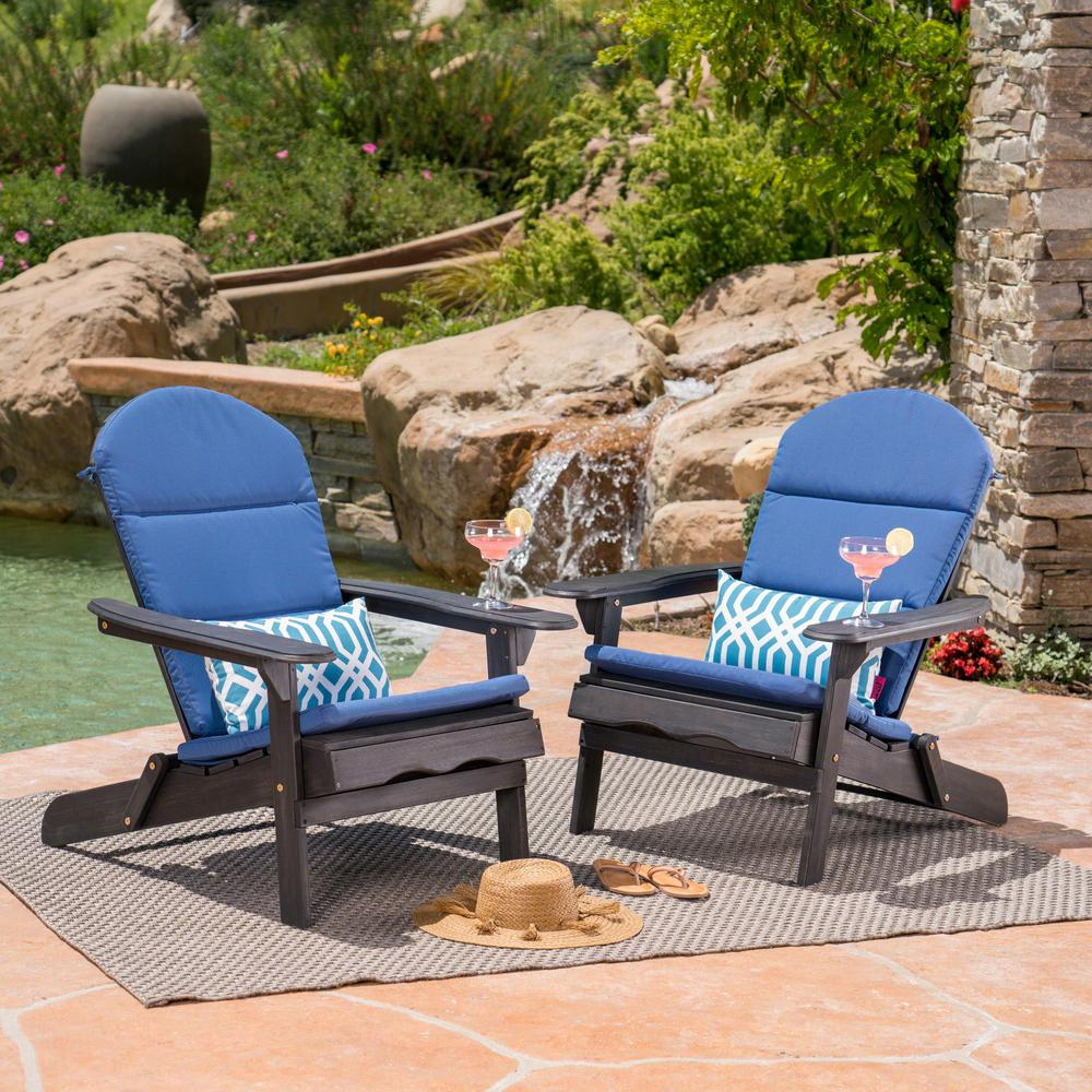 Noble House Malibu Dark Gray Folding Wood Adirondack Chairs with Navy Blue Cushions (2-Pack)