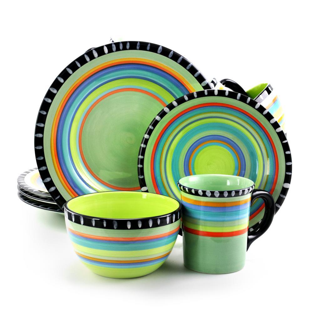 Pueblo Springs Spanish Festival Durastone 16-Piece Mint Dinnerware Set (Service for 4)