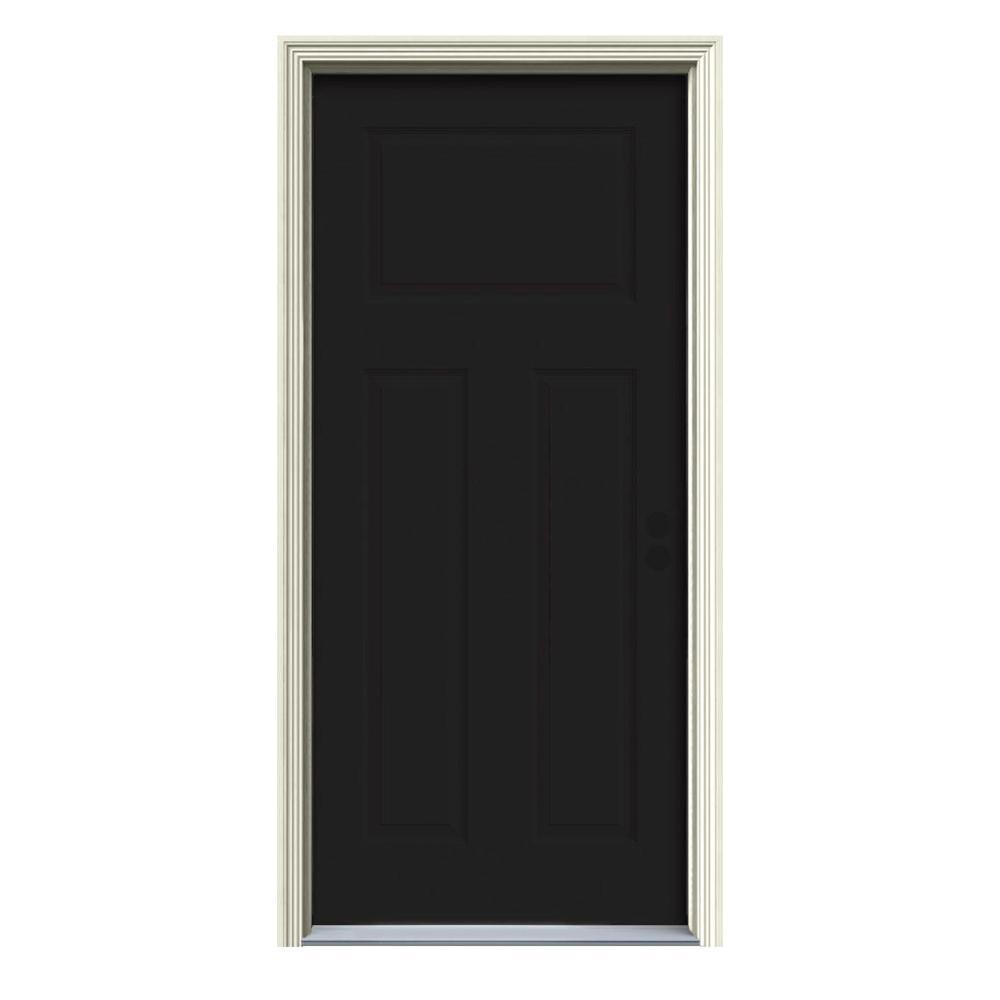 Jeld wen 34 in x 80 in 3 panel craftsman black painted steel prehung left hand inswing front - Black craftsman front door ...