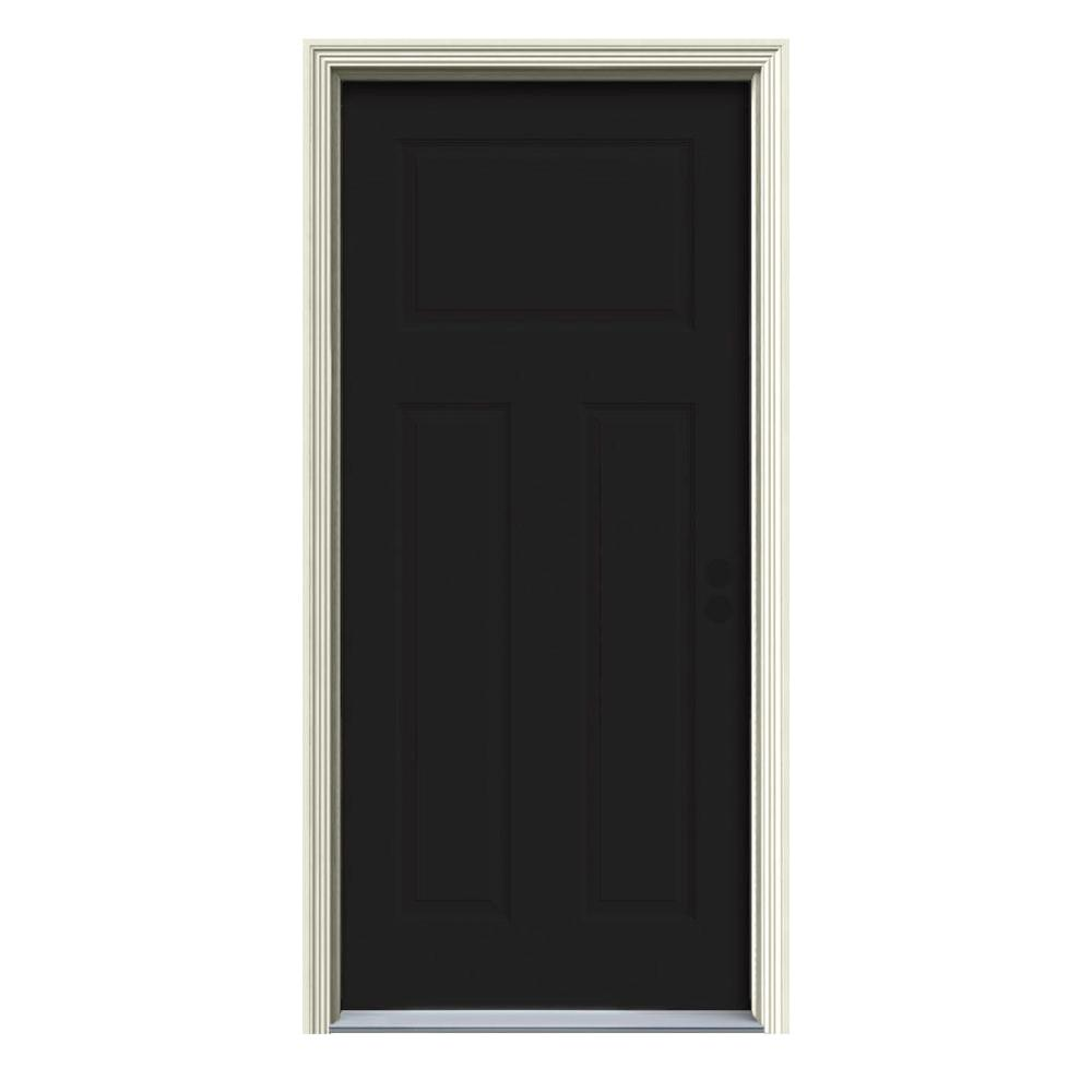 Jeld Wen 34 In X 80 In 3 Panel Craftsman Black Painted Steel Prehung Left Hand Inswing Front