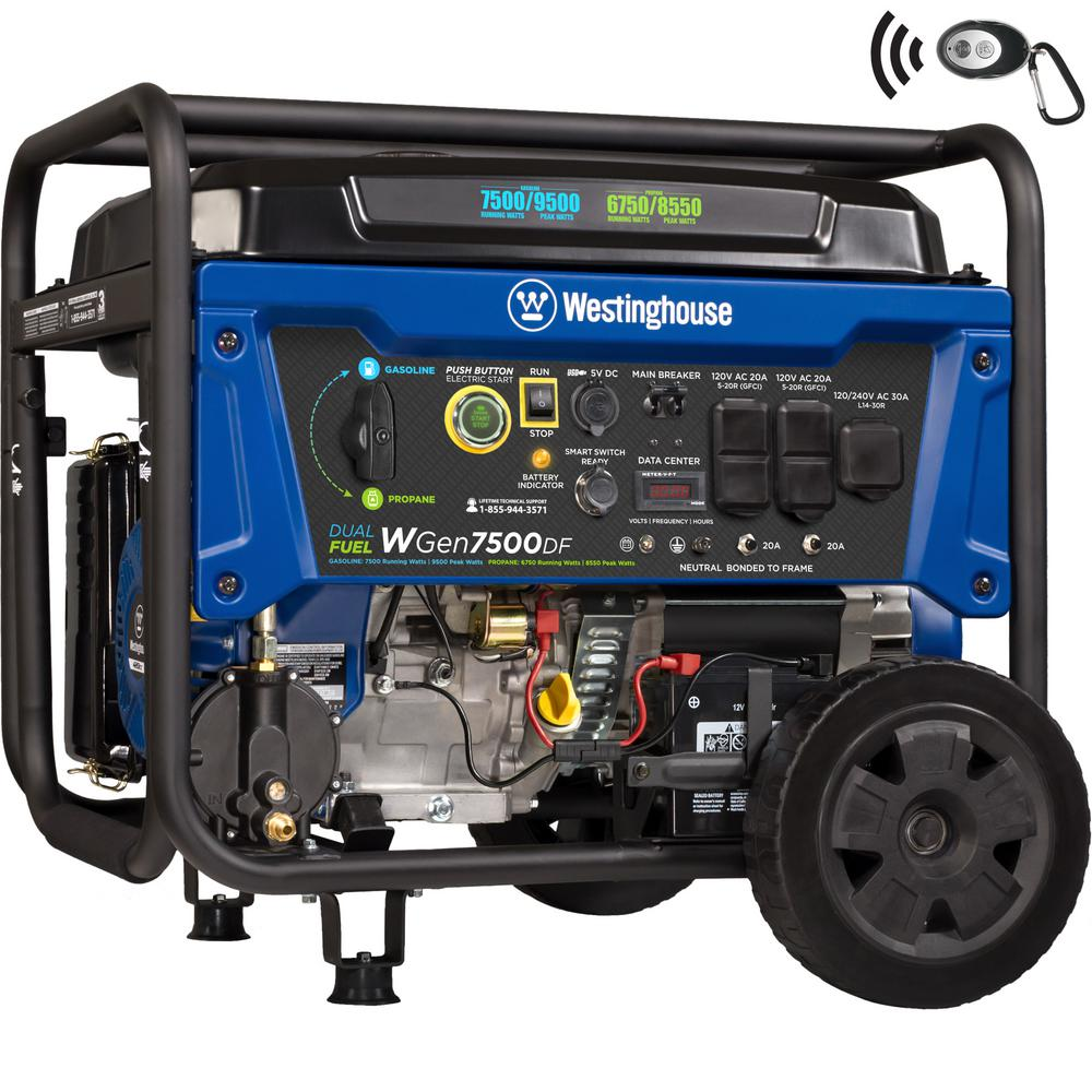 Westinghouse WGen7500DF 9,500/7,500 Watt Dual Fuel Portable Generator with Remote Start and Transfer Switch Outlet for Home Backup -  07512