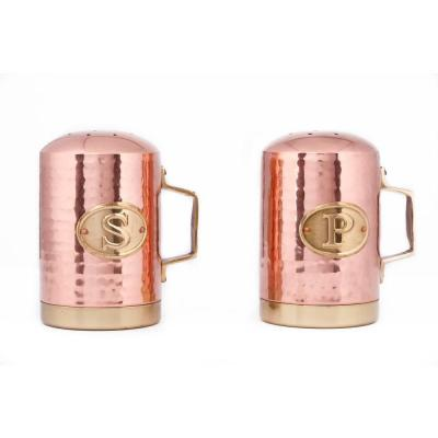 4.25 in. Decor Hammered Copper Stovetop Salt and Pepper Set