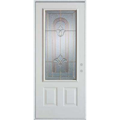 32 in. x 80 in. Traditional Brass 3/4 Lite 2-Panel Painted White Left-Hand Inswing Steel Prehung Front Door