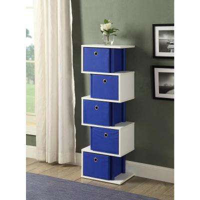 Zig Zag 15 in. W x 11.6 in. D Ocean Blue and White Drawer Storage