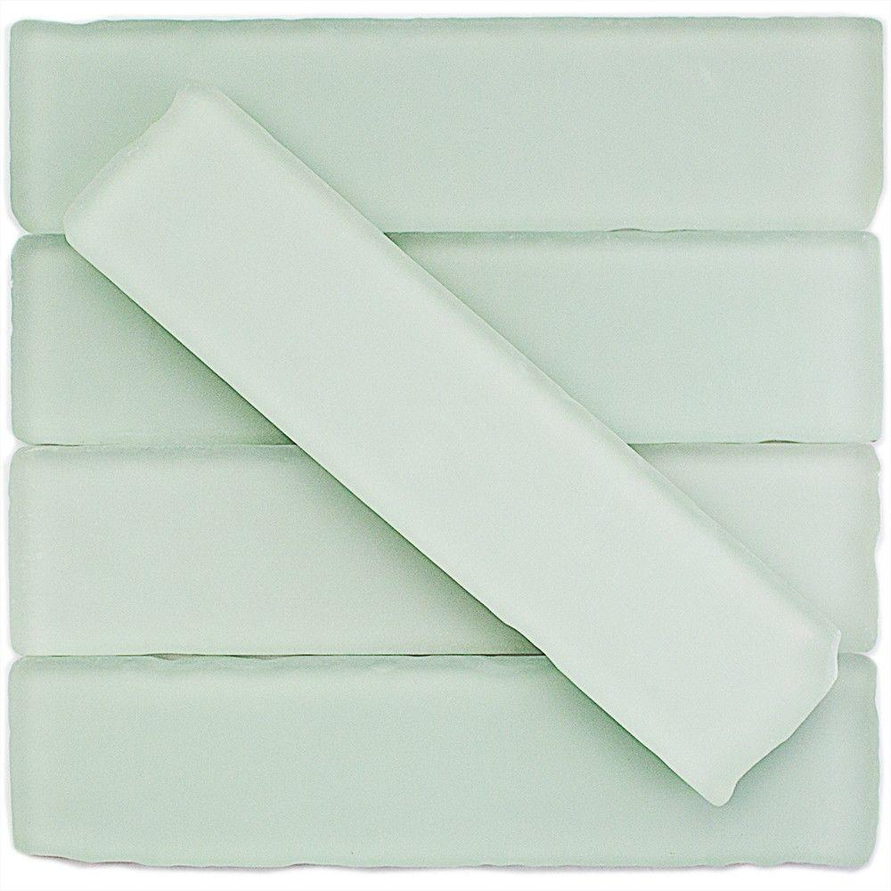 Ivy Hill Tile Ocean Mist Beached Frosted Glass Subway Tile 2 In X