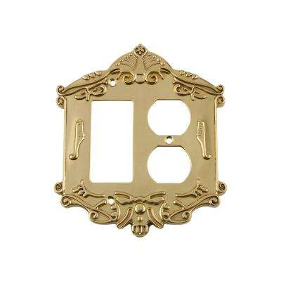 Victorian Switch Plate with Rocker and Outlet in Polished Brass
