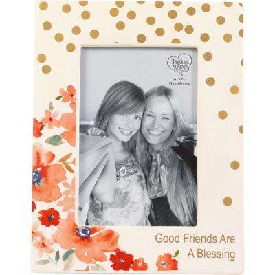 4 in. x 6 in. Multi Colored Gloss Dolomite Good Friends Are A Blessing Floral Picture Frame