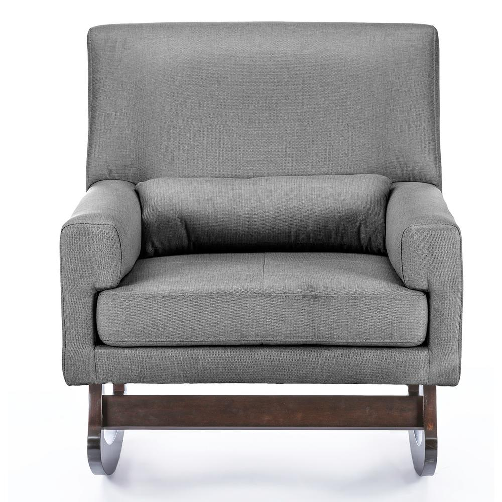 Lovely Baxton Studio Blas Grey Fabric Rocking Arm Chair