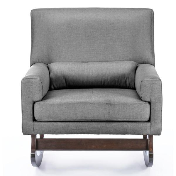 Baxton Studio Blas Grey Fabric Rocking Arm Chair 28862-6004-HD