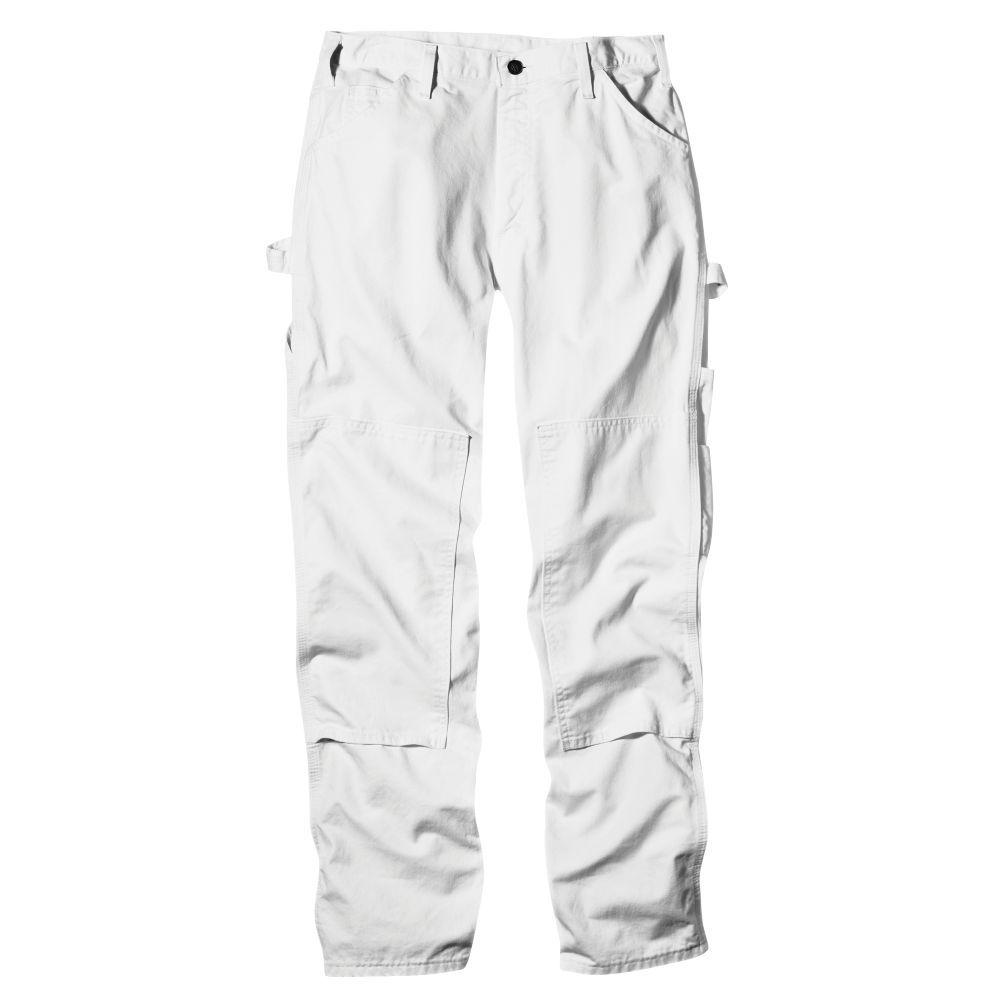 Relaxed Fit 34-34 White Double-Knee Painter Pant